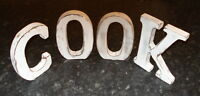 COOK  LARGE SHABBY CHIC VINTAGE WHITEWASH WOODEN LETTERS SIGN FREESTANDING 15CM