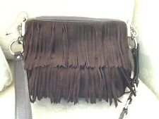 Anne Klein Brown Suede Fringe Crosbody Suede Purse $198 NWOT