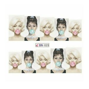 Nail Art Sticker Water Decals Transfer Stickers Marilyn Monroe Gum UK Seller
