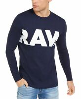 G-Star Mens T-Shirt Blue Size 2XL Raw Logo Long Sleeve Graphic Tee $60 #316