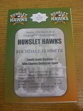 28/03/2010 Rugby League Programme: Hunslet v Rochdale Hornets  (4 Pages). Any fa