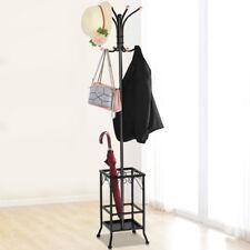 Hall Tree Metal Coat Rack Umbrella Holder Hat Hooks Clothes Storage Stand Hanger