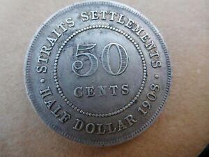 STRAITS SETTLEMENTS EDWARD VII SILVER HALF DOLLAR 50 CENT COIN 1908