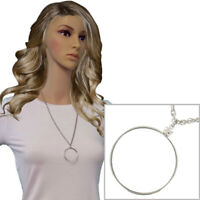 Silver Tone Mount Your Own Coin Holder Pendant Chain Necklace 38mm