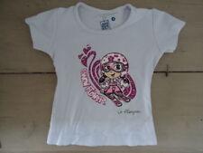 T-shirt manches courtes bleu ciel imprimé fillette skieuse à fleurs Taille 4 ans