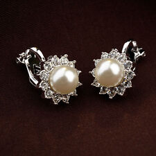 ITALINA 18K WHITE GOLD PLATED GENUINE AUSTRIAN CRYSTAL & PEARL CLIP-ON EARRINGS