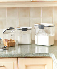 Set of 3 Airtight Locking Lid Canisters Dry Food Containers Kitchen Organizing