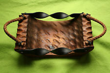 Solid Wood Tray Handmade Rustic Pine Metal Wrought Iron Sides Rope Handles
