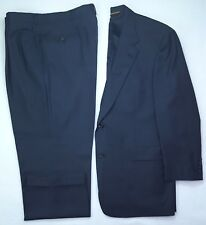 Hart Schaffner Marx 44L Blue Suit 2 Button Gold Trumpeter Wool Mens Size Long Sz