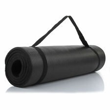 "Durable Extra Thick (15 mm) 72"" x 24"" NBR Yoga Mats Non-Slip Pads Black"