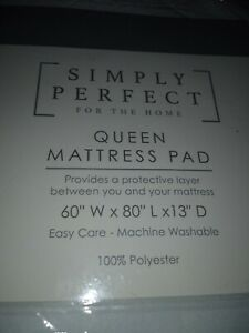 """Simply Perfect Queen Mattress Pad-60""""W x 80""""L x 13"""" D- White-Quilted-NIP"""