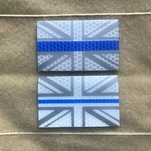 Union Jack Thin Blue Line Reflective IR Style Morale Patch for UBACS & Bergen