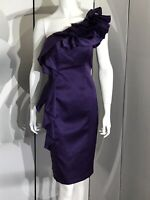 New BenDeLisi Purple Midi Fitted One Shoulder Chic Party Cocktail Dress, UK 10