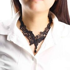 Lace Butterfly Beads Pendant Black Fabric Chain Metal Collar Choker Necklace KK