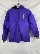 Fur TWEETY Hoodie Large Womens Purple Full Zip Jacket Singing Tweety Black