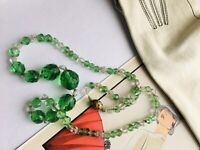 Czech Gablonz Art Deco Green and Rock Crystal Glass Beads Necklace