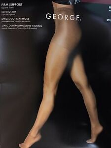 2 Pr George Firm Support Control Top Sandalfoot Pantyhose with FREE Smoother