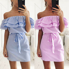 Women Fashion Summer Striped Dress Off Shoulder Ruffle Party Boho Dress W/Belt