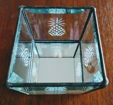 WOW Vintage Leaded Beveled Mirrored Square Candle Holder With Etched Pineapples