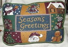 1990s Season's Greetings Tapestry Christmas Xmas Throw Pillow Velveteen Backed