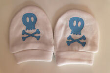 BABY BOY,GOTH  WHITE COTTON SCRATCH MITTENS SKULL CROSSBONES NEWBORN