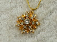 Goldtone Rhinestone Snowflake Pendant Necklace (D41)