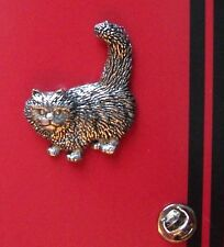 English Pewter Standing Cat, Kitten Pin Badge Tie Pin / Lapel Badge A40
