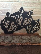 Metal Wolf Pack sent in a wood base - Home Decor