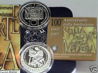 ITALIA 2007 moneta da 10 EURO ARGENTO 100° SCUOLA ARTE MEDAGLIA FS  PROOF PP BE