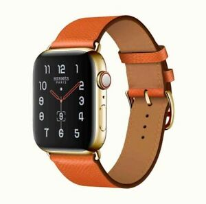 24K Gold Plated Apple Watch SERIES 6 HERMES 40mm 24K Gold Buckle Orange Leather