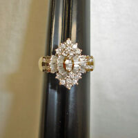 Diamond Cluster Ring 2.74 CT 14k Yellow Gold FN Diamond Cocktail Engagement Ring