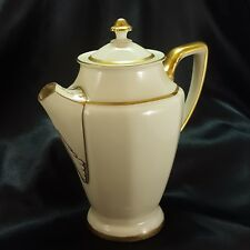 Rosenthal Corona Chocolate Pot Art Deco Ivory Porcelain Gold Trim 24 oz ca 1940