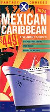 Fantasy Cruises 1994 Cruise Brochure Mexican Caribbean Britanis Deck Plans