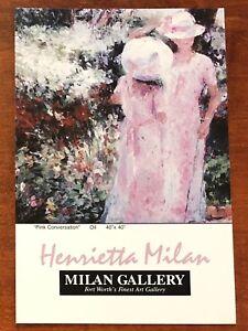 "4""x6"" postcard/print PINK CONVERSATION Henrietta Milan impressionist Texas girls"