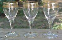 3 Vintage Liquor,Cordial Gold Greek Key Pattern Glasses