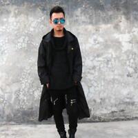 New Mens Casual Long Black Oversized Raincoat Waterproof Windbreaker Jacket Chic