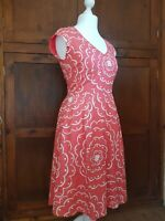 Boden Retro Floral Print Tea Dress Size 10 L Summer Holiday Wedding