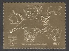 Guyana 6177 - 1992 GENOVA Exn in GOLD - CAT, DOG, BUTTERFLY, DINOSAUR, BEAR