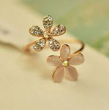Cute Fashion Jewelry Gold Filled Daisy Crystal Rhinestone Ring Gift Adjustable