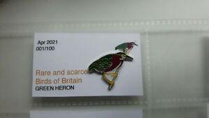 GREEN HERON enamel BIRD pin badge RSPB UK interest SGW Birding Collectors.,.