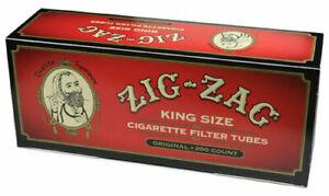 Zig Zag Red Full Flavor Cigarette Filter Tubes King Size KS -5 Pack (1000 Tubes)