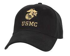 HAT MARINES LICENSED USMC INSIGNIA BLACK BASEBALL CAP ADJUSTABLE ROTHCO 5327