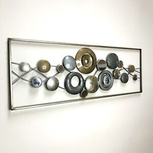 Metal Wall Art Decor Circle and Donut Gold and Silver Shapes With Mirror Inlays