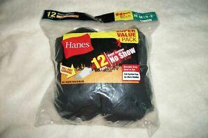 12 pairs Hanes NO SHOW SOCKS Black Shoe Size 9 - 2.5