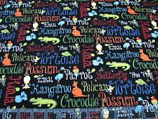 3 Yards Quilt Cotton Fabric - Henry Glass Aussie Mates Colorful Animals Words Bl