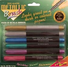 SET OF 6 ~ Dri Mark Brush Tip Metallic Markers 86176B