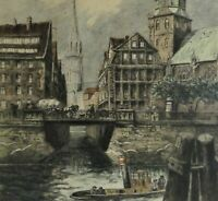 Helma Fischer-Oels (1860-1930) große Farb-Radierung: HAMBURG - ZOLLKANAL
