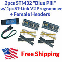 2pcs STM32F103C8T6 ARM STM32 Development Board Module Blue Pill + ST-Link V2 USA