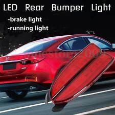 2x LED Rear Bumper Reflector Lens Brake Stop Light For Mazda 6 ATENZA 2014-2016