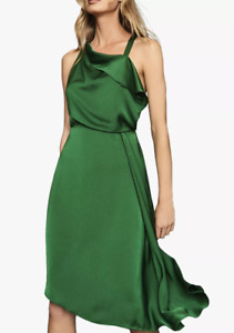 New Reiss Aya Satin Midi Dress, Green Size UK 12